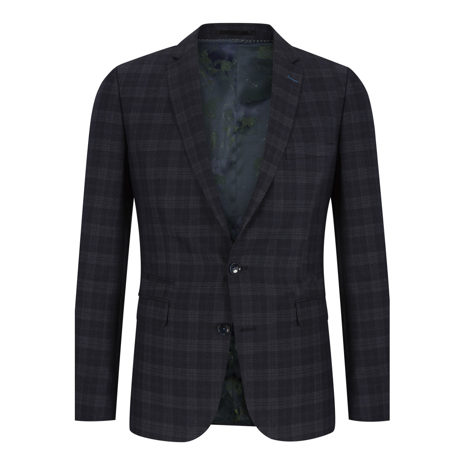 a7677f65d1159d Remus Uomo Dark Grey Check 3 Piece Suit. - Blooms Menswear